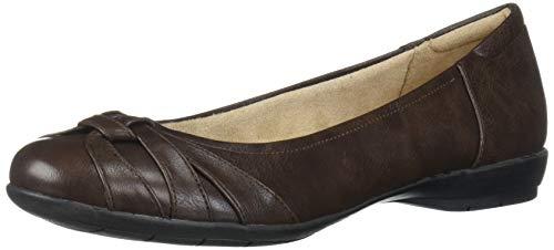 SOUL Naturalizer Women's Gift Ballet Flat, Dark Brown, 7.5 M US