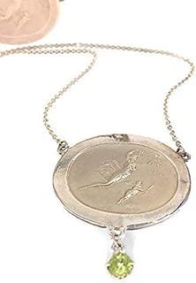 "Sterling Silver Peridot Oval Goddess Pendant Chain Necklace features Aurora Roman goddess of Dawn 4 mm Peridot 1 1/2"" W 1 1/4"