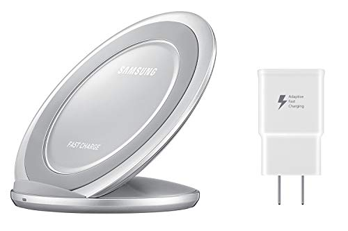Samsung Qi Certified Fast Charge Wireless Charging Pad + Stand - Supports wireless charging on Qi compatible smartphones - Silver