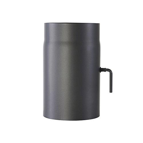 Ofenrohr Senotherm® mit Drosselklappe Wandstärke 2 mm Ø120 hitzebeständig lackiert - Länge: 250mm - Rauchrohr, Kaminrohr gussgrau - für Kaminöfen