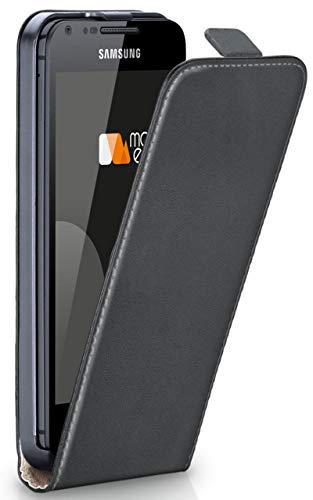 moex Flip Case für Samsung Galaxy S2 / S2 Plus - Hülle klappbar, 360 Grad Klapphülle aus Vegan Leder, Handytasche mit vertikaler Klappe, magnetisch - Grau