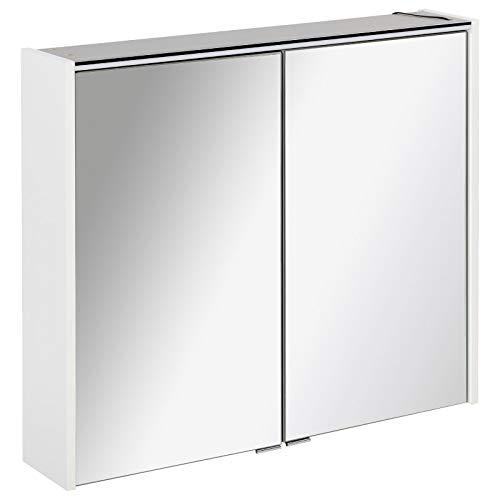 FACKELMANN tweedeurs spiegelkast badkamer LED-verlichting 80 cm wit mat Denver