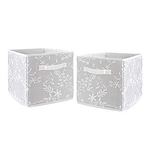 Sweet Jojo Designs Grey Floral Vintage Lace Foldable Fabric Storage Cube Bins Boxes Organizer Toys Kids Baby Childrens – Set of 2 – Solid Gray Luxurious Elegant Princess Boho Shabby Chic Luxury Flower