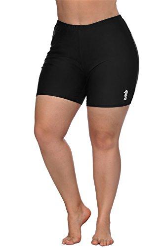 ALove Women's Plus Size Board Shorts High Waist Slim Fit Swimsuit Bottoms Black 3X