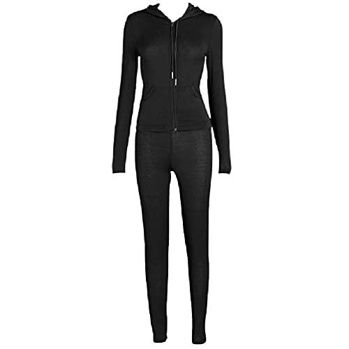 Mujer 2 piezas trajes de manga larga con cremallera sudadera con capucha chaqueta flaco leggings pantalones conjunto de color sólido deportivo chándal jeans para mujer cintura alta mamá jeans