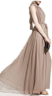 Scott-Vincent Borba Haute Couture Chiffon Halter Dress, Beige