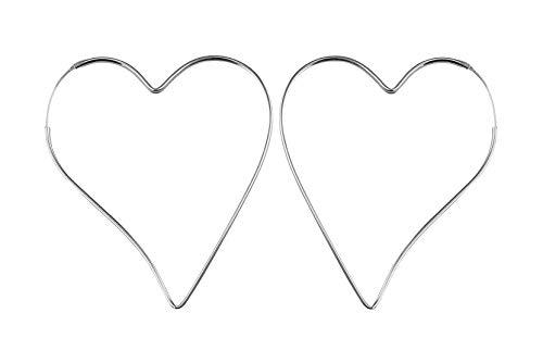 PAPOLY®Pendientes de Aro con forma de Corazon 62mm PLATA DE LEY 925 muy cómodos, Gratis Gamuza limpia plata 25x10cm y Estuche. (Aro-Corazon 62mm)