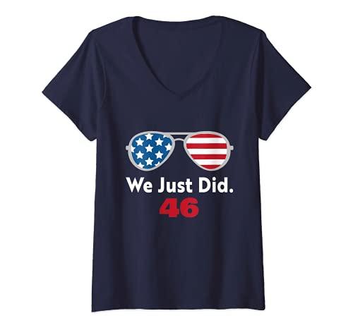 Mujer We Just Did 46 Camisa que acabamos de hacer 46 Día de Inauguración 2021 Camiseta Cuello V