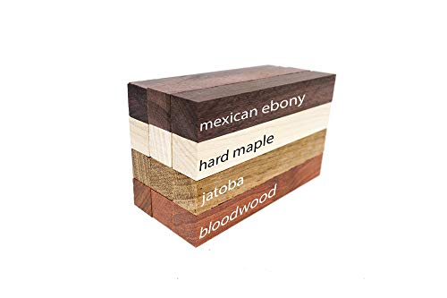 Exotic Wood Pen Blanks 12-Pack: Bloodwood, Mexican Ebony, Jatoba, Hard Maple, 3 of Each Wood Type, 5 x 3/4 x 3/4 inches