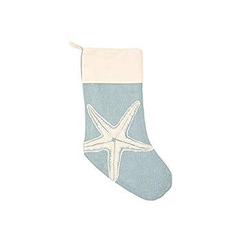C&F Home Starfish Applique Nautical Blue 20 x 9 Burlap Jute Fabric Christmas Stocking
