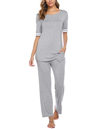 iClosam Womens Pajama Set Yoga Set 3/4 Sleeve Top & Pants Loungewear Pjs Sets Grey