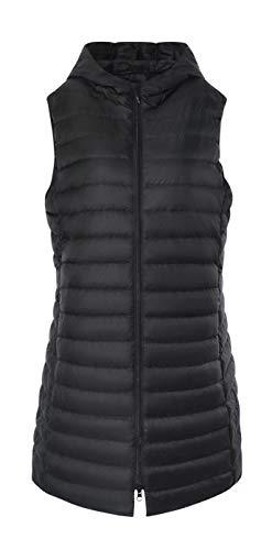 ELFJOY Women's Long Down Vest Zipper Lightweight Puffer Jackets with Hood Black L