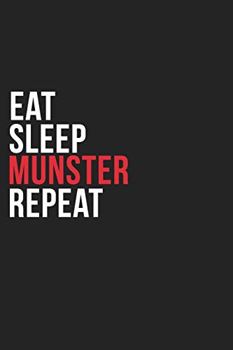 Eat Sleep Munster Repeat: 6''x9'' Munster Lined Dark Gray Black Writing Notebook Journal, 120 Pages, Best Novelty Birthday Santa Christmas Gift For Friends, Parents, Boss, Coworkers Who loves Munster