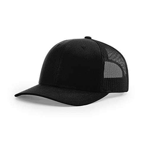 Richardson Unisex 112 Trucker Adjustable Snapback Baseball Cap, Solid Black, One Size Fits Most
