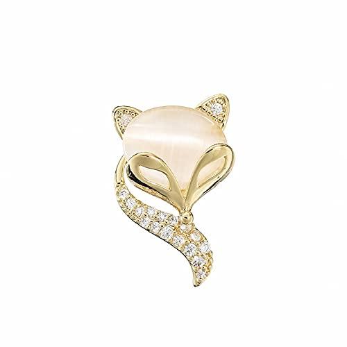 ROTOOY Broche Anti-luz Hebilla Escote decoración ins Accesorios de Personalidad de Moda pequeño Zorro Pin Nueva Ropa Ramillete-Golden Little Fox_Size 1.8 * 1.2CM