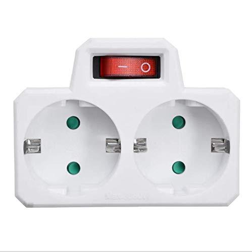 Chnrong Adaptador de Enchufe Enchufe Doble con Interruptor 16A / 250V / MAX 3680W Enchufe de conversión, Enchufe Doble para Enchufe para Oficina, en casa o Cuando viaja