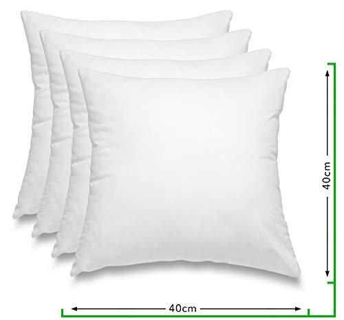 wometo 4er Set Federkissen 100% Federn 40x40 cm - 300g OekoTex Kissen Füllkissen Bezug Baumwolle weiß I Innenkissen/Kissenfüllung/kleine Kopfkissen (4 Stück)