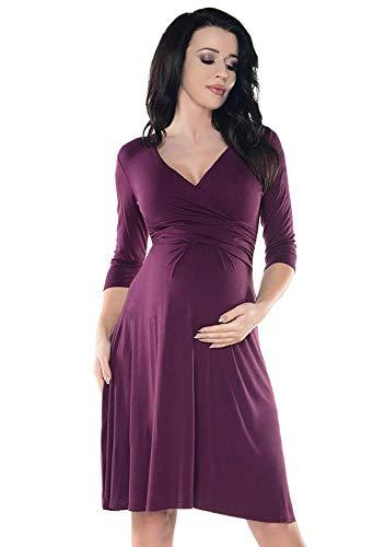 iloveSIA Umstandsmode Damen Kleider Sommer Umstandskleid für Hochzeit Schwangerschafts Kleid Alltag lila L/gr. 44