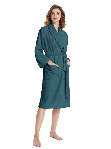 SIORO Frottee Damen Robe Langer Bademantel Baumwolle Badetuch Roben Wadenlänge mit Schalkragen Weiche leichte Nachtwäsche für Spa Whirlpool, Ink Blue Medium