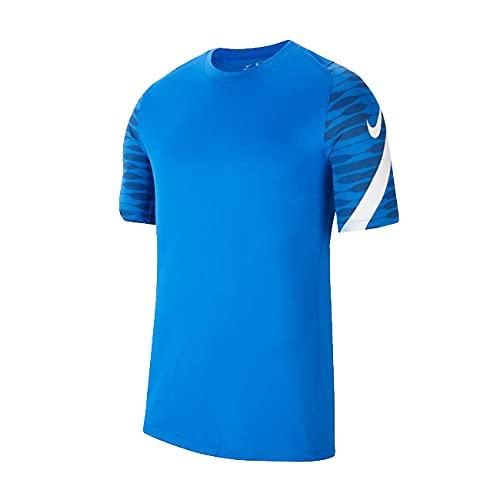 NIKE, Dri-Fit Strike, Camiseta De Fútbol De Manga Corta, Azul Real/Obsidiana/Blanco/Blanco, XS, Unisex-Hijo