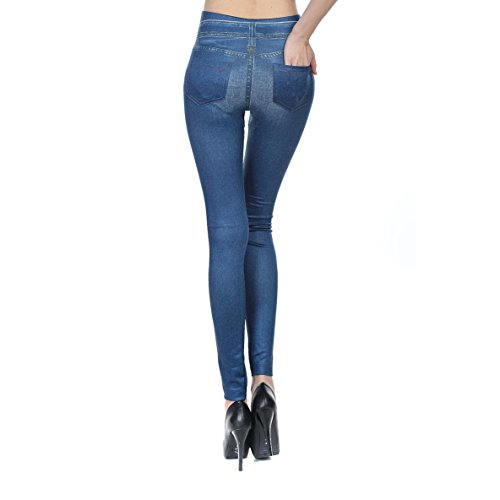 Blostirno Womens Sexy Jeggings High Waist Denim Print Leggings with Pocket (Blue with Pocket US-L / ASIAN-L)