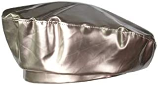 Hats Womens Wide Brim Beret Cap Vintage Leather Newsboy Hat for Ladies Fashion (Color : Silver)