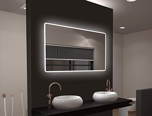 Specchio per bagno a LED Talos Moon 120x70 cm - colore chiaro 4200 Kelvin - Design moderno e rivestimento di alta qualità