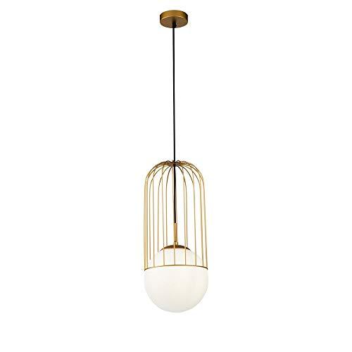 Suspension Design, 1 Lampe, Style Moderne, Art Deco, Armature en Métal couleur or, plafonnier en verre couleur blanc, 1 ampoule, excl. E27 40W 220-240V