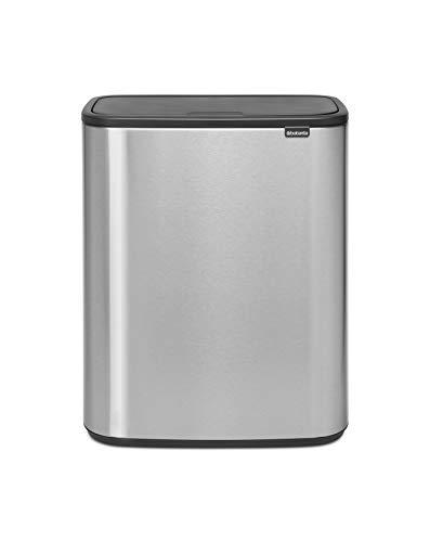 Brabantia Bo Touch Bin - 1 x 60 Litre Inner Bucket (Matt Steel Fingerprint Proof) Waste/Recycling Kitchen Bin with Removable Compartment + Free Bin Bags