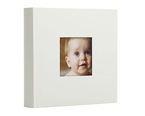 Pearhead Álbum de fotos, regalo de recuerdo para bebé, bautizo, bautizo o bautismo, 50 páginas, gris con lunares blancos