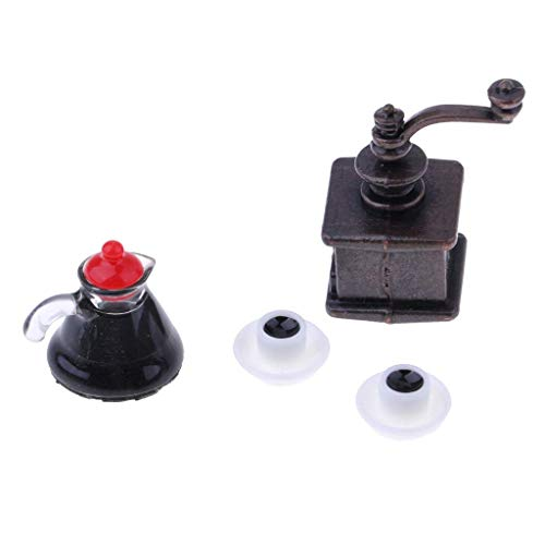 JKUNYU Czajnik kawy. 1/12 Dollhouse Miniaturowa jadalnia Materiały do jadalni Resin Ekspres do kawy i doniczka do kawy, 2 szklanki