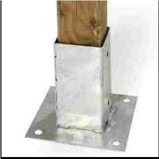 CABEX CO. s.r.l. – Staffa Supporto a Piastra in zincata a Caldo, per Fissaggio su Superficie Solida, Sostegno Pali in Legno Cm. 9x9 Supporto Robusto per pergolati, staccionate ECC. Modello [028]