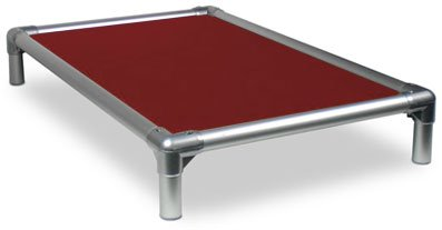 Kuranda All-Aluminum (Silver) Chewproof Dog Bed - Large (40x25) - Ballistic Nylon - Burgundy