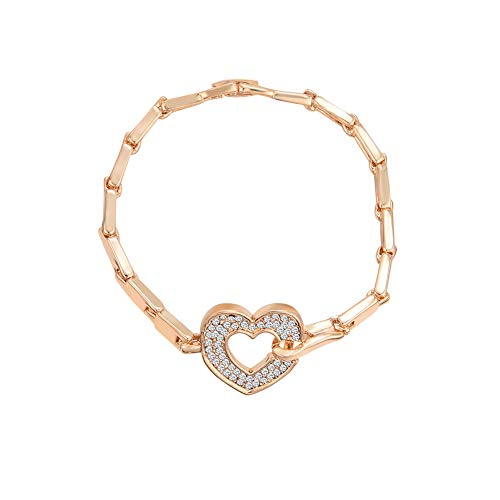 MSYOU Alloy Bracelet Elegant Rhinestone Heart Shape Bangle Classic Chain Link Jewelry Gift for Mum Wife Daughter Friend(Rose Gold)