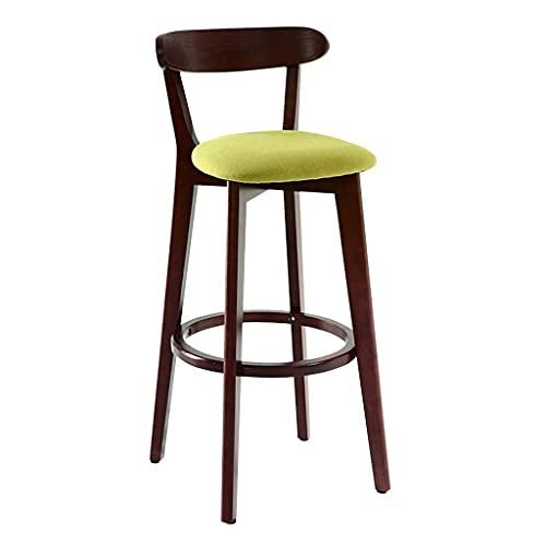 NUBAOgykongtiao Silla de comedor con asiento de madera y reposapiés de lino verde, silla de comedor, desayuno, cocina, bar cafetería (color madera, tamaño: altura del asiento: 61 cm)