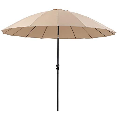 PHI VILLA 10ft Outdoor Patio Umbrella 16 Fiberglass Ribs with Push Button Tilt & Crank, Market Umbrella for Garden Terrace Pool, Beige