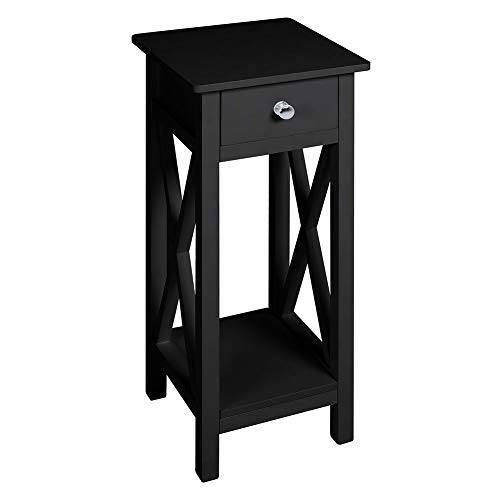 INMOZATA Telephone Table Tall Slim with Drawer End Table Side Table Corner Bedside Table for Living Romm Bedroom Hallway Black