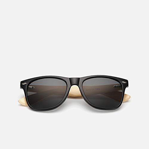 Sunglasses Gafas de Sol de Moda Gafas De Sol De Madera De Bambú para Mujer, Gafas De Sol Uv400 con Espejo para Hombre, T
