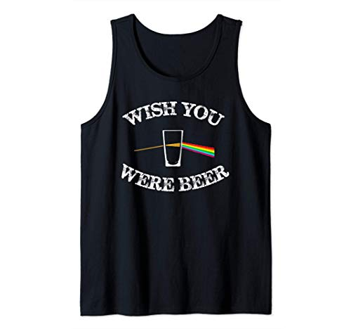 Funny Drinking Beer gift design Wish you were Beer Camiseta sin Mangas
