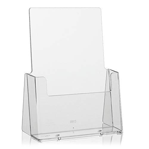 Taymar Présentoir à prospectus Porte-brochures Format DIN long Pack unique Format A5 Transparent