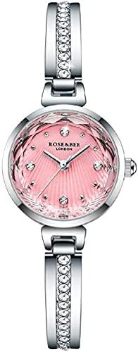 JZDH Reloj de Pulsera, Relojes Decorativos de Las señoras en Rosa y Blanco, 3ATM Relojes Deportivos a Prueba de Agua y a Prueba de Golpes, y Relojes de Cuarzo de Acero Inoxidable.