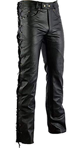 BOSMOTO Herren Lederhose Bikerjeans Motorrad Hose mit Schnürung schwarz 30-42 inch (30)