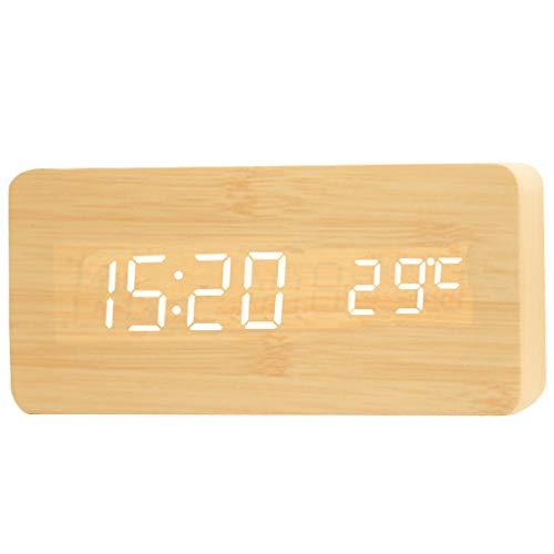 Reloj de Escritorio Analógico Reloj despertador LED de madera con brillo ajustable Activación por voz Hora de inducción Campana Fecha / Semana / Temperatura USB o con pilas Reloj de Escritorio Silenci
