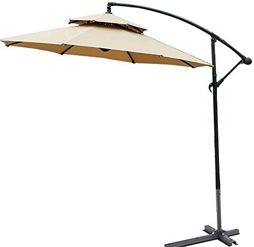 Sun Parasol 2.7m Outdoor Umbrella Garden Umbrella Market Outdoor Table Umbrella Patio Umbrella Push Button Terrace Umbrella Beach Umbrella mwsoz (Size : Khaki)