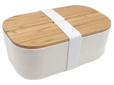 Fiambrera de bambú ecológica, 1100 ml (banda blanca)
