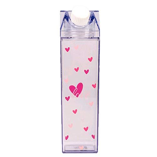 Sadad 創造的な透明な牛乳瓶、チェリーミルクカップ、印刷された牛乳水カップ、牛乳パック、かわいい透明な水ボトル、再利用可能なプラスチック透明な水ボトル、牛乳パック水カップ、屋外スポーツ旅行カップ、キッチンの漏れ防止スプーン、屋外登山旅行キャンプ子供男性