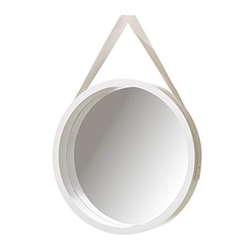Espejo de Pared nórdico Blanco PU de Ø 40 cm - LOLAhome