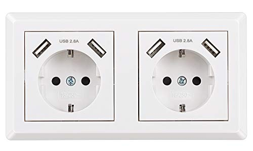 Enchufe Doble Pared, Toma de Corriente Pared Blanco Schuko Enchufe con USB Superficie para la Mayoría de los Dispositivos, 4000W/16A