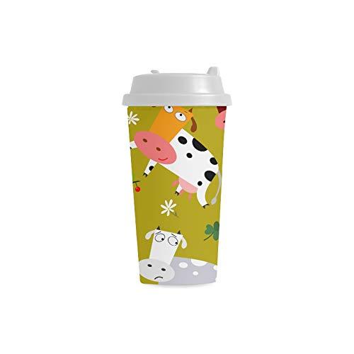 Taza personalizada Coloridas vacas Vector 16 Oz Tazas de plástico de doble pared Viaje de cercanías Tazas de café para mujeres Bebidas Deportes Agua Tazas grandes