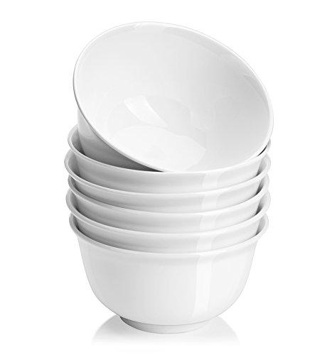 DOWAN Cuencos hondos de porcelana para sopa para Pho Ramen, ensalada, pasta, forma redonda clásica con borde acampanado, apto para lavavajillas, microondas, juego de 6 30 OZ Blanco
